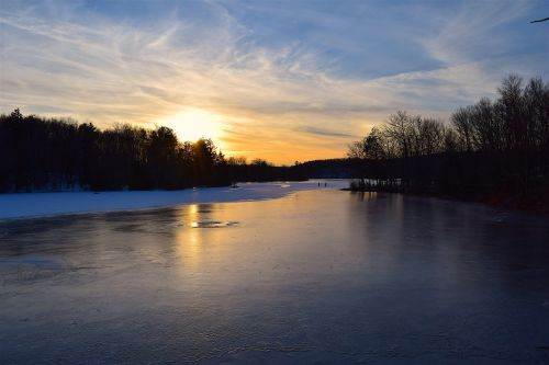 sunset lake winter