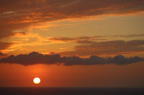 sunset ocean island