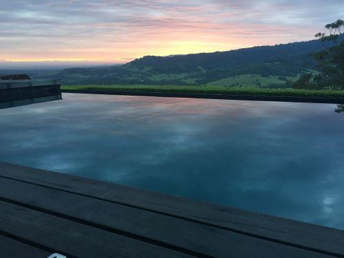 sunset pool reflection