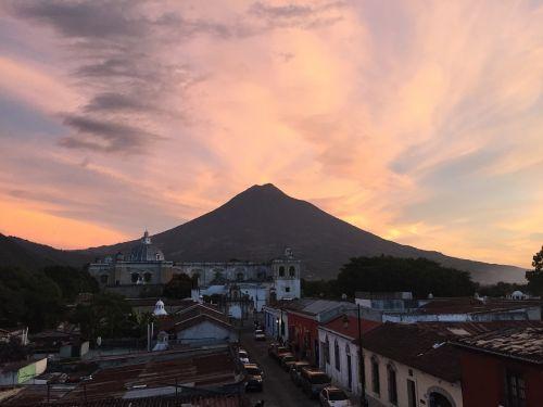 sunset guatemala volcano