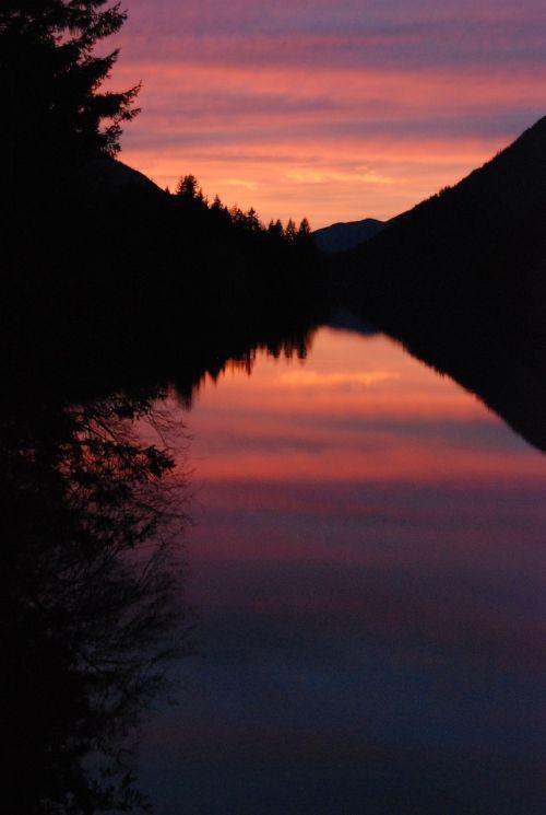 sunset lake crescent landscape