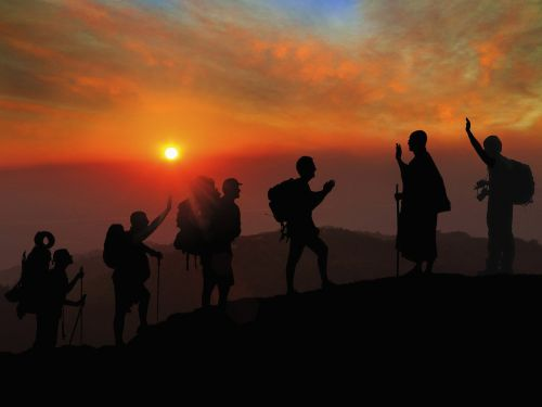 sunset hiking greetings