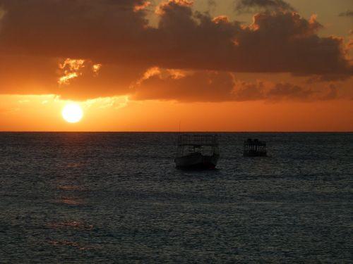 sunset orange clouds sunset at sea