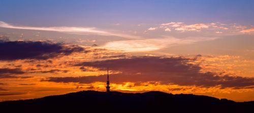 sunset orange dark blue