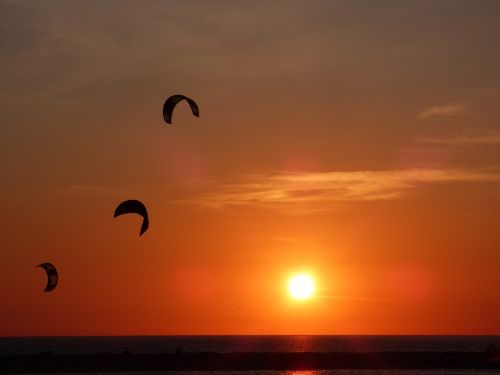 sunset kite kite surfing