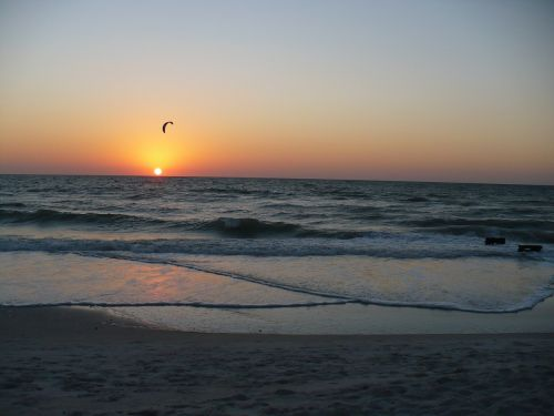 sunset windsurfer beach