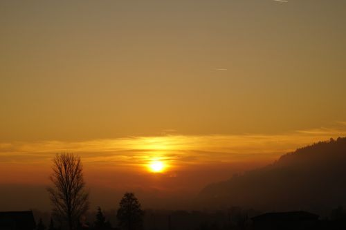 sunset abendstimmung fog
