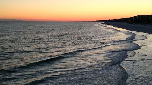 saulėlydis,papludimys,bangos,paplūdimio vakaras,vakaras,taikus,dusk