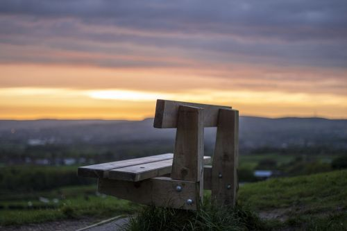 sunset bench solitary