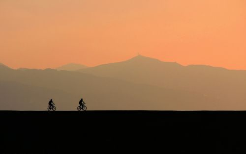 sunset silhouette bicycle