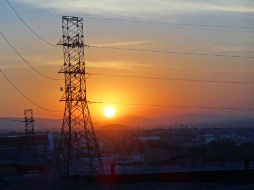sunset electricity sun