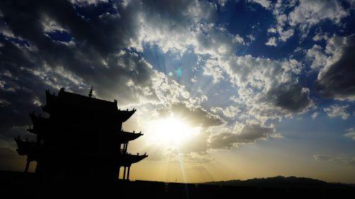 sunset the great wall jiayu guan