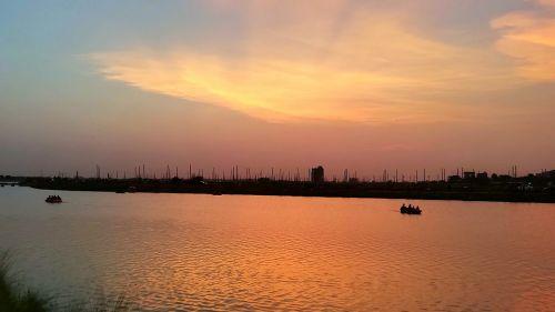 sunset river evening
