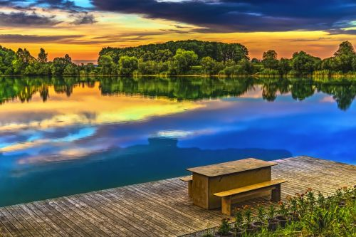 sunset lake abendstimmung