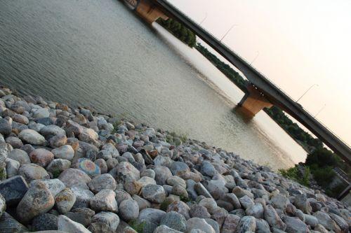 sunset river side bridges