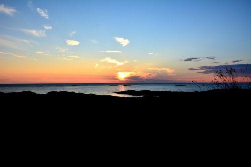 sunset sea water