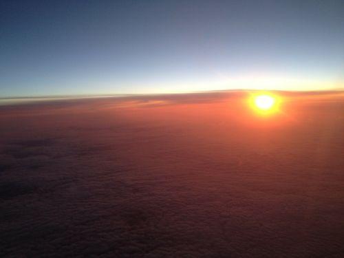 sunset aeroplane window