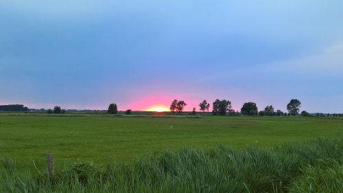 sunset afterglow nature