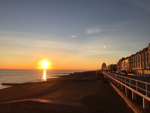 sunset coastline england