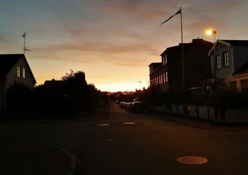 sunset dark houses