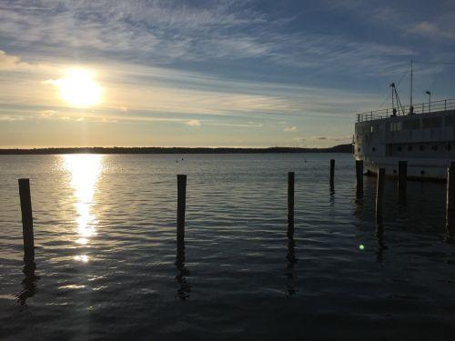 sunset island waterfront