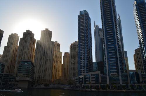 sunset dubai dubai marina buildings