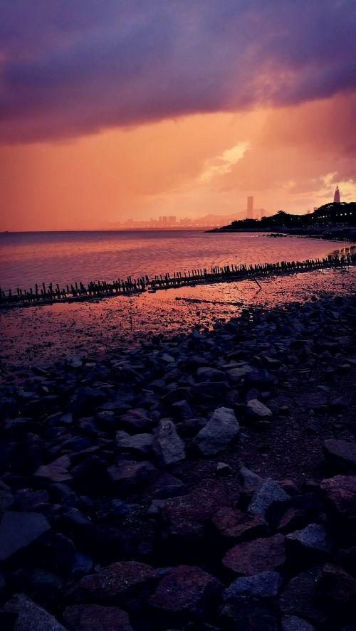 sunset shenzhen bay rainstorm