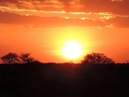 sunset namibia kalahari desert