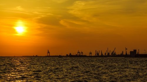 sunset port harbor