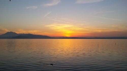sunset lake atmospheric