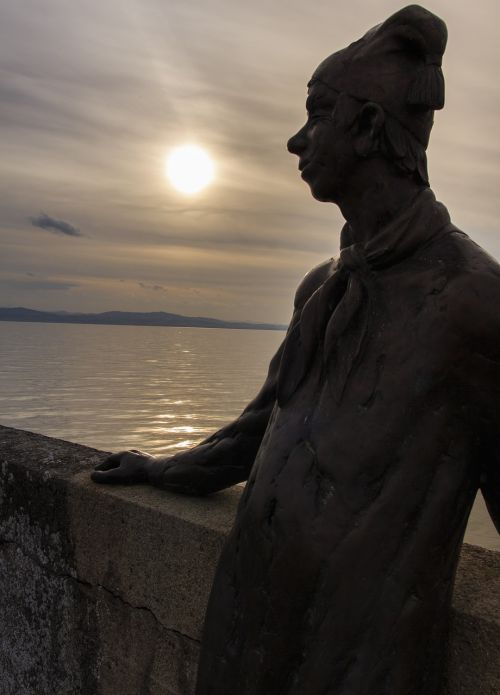sunset statue lake constance