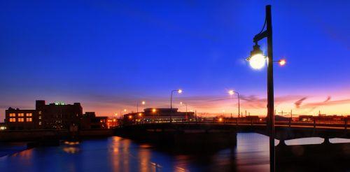 sunset cityscape streetlight