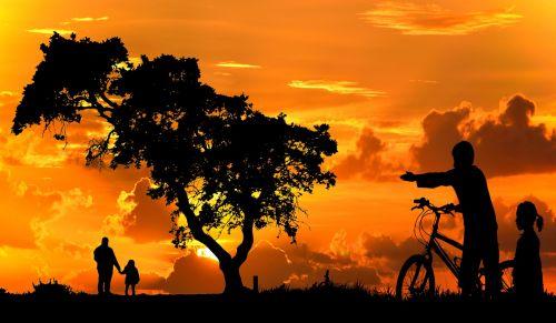 sunset dawn silhouette