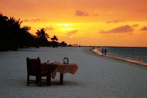 sunset beach table