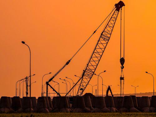 sunset crane pylons