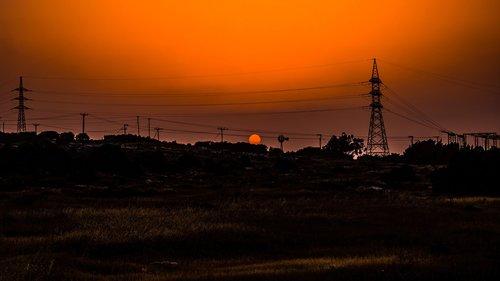 sunset  landscape  pylons