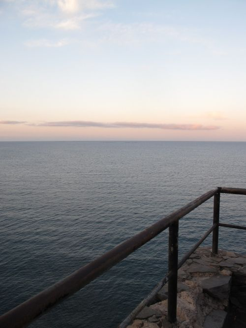 sunset handrail blue
