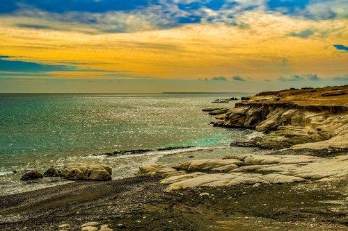 sunset  sea  seashore