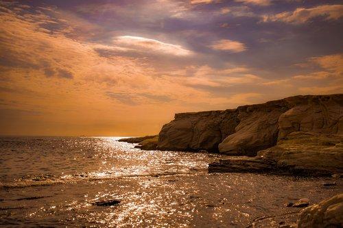 sunset  cliff  coast