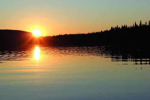sunset  lake  lapland