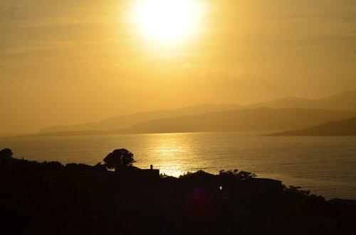 sunset  corsica  evening