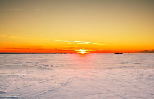 sunset  snow  ice