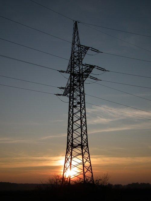sunset  strommast  high voltage