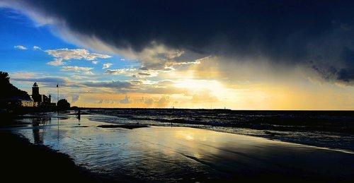 sunset  storm clouds  landscape