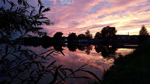 sunset  river  amstel