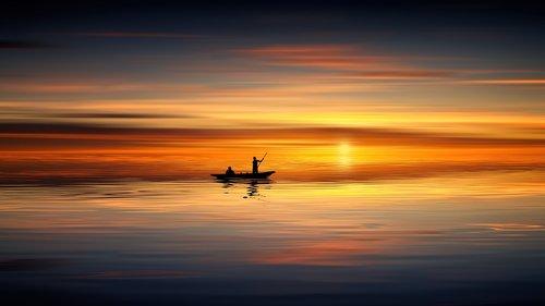 sunset  ocean  boat