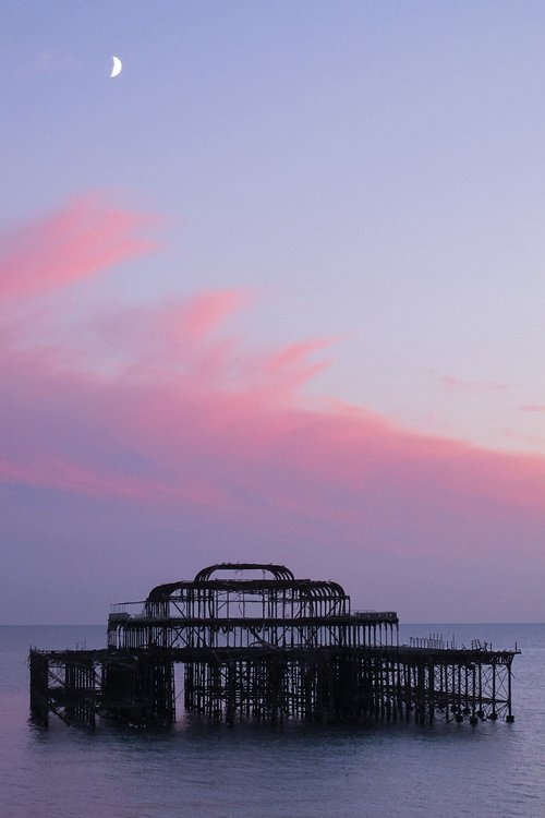 sunset  sea  brighton pier