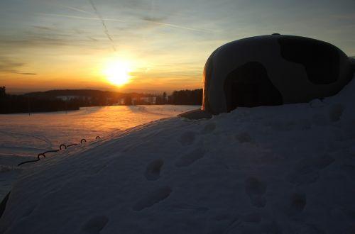 sunset snow mountains