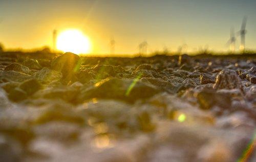 sunset  stones  gravel