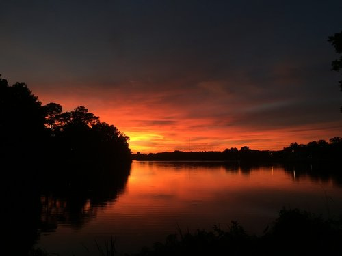 sunset  lake  louisiana